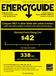 Energy Guide Label: Model RMS550PS - SIDE-BY-SIDE Refrigerator/Freezer