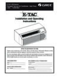 Gree ETAC Owner's Manual