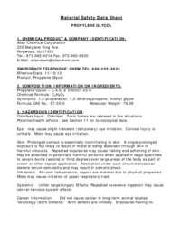 MSDS  INFORMATION   PROPYLENE GLYCOL