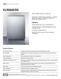 Spec Sheet   CLR268CSS