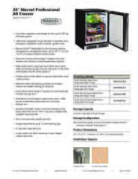 Marvel Undercounter Professional All Freezer Product Spec Sheet MP24FA