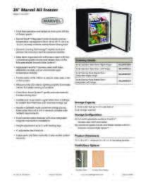 Marvel Undercounter 24 Inch All Freezer Product Spec Sheet ML24FA
