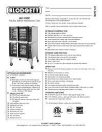 Blodgett Oven HV 100E Spec Sheet