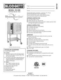 Blodgett Oven HV 50E SpecSheet