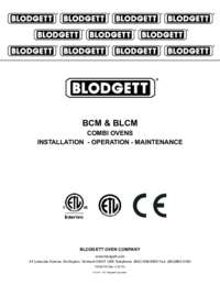 BCM and BLCM Series Combi Ovens Manual