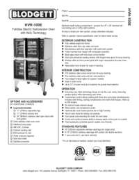 Blodgett Oven HVH 100E SpecSheet