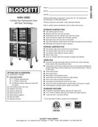 Blodgett Oven HVH 100G SpecSheet
