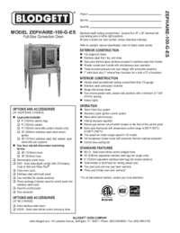 Blodgett Oven ZEPH 100 G ES SpecSheet