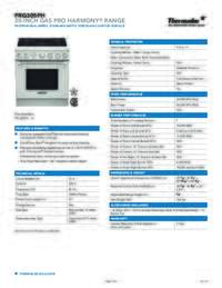 PRG305PH 30 INCH GAS PRO HARMONY RANGE Specifications