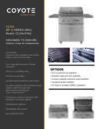 Spec Sheet For 36 Inch Grill