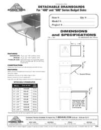 Drainboard Spec Sheets