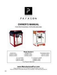 Owner's Manual for Popcorn Machine