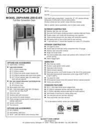 Blodgett Oven ZEPH 200 G ES  Spec Sheet