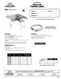 Corner Sinks Spec Sheet