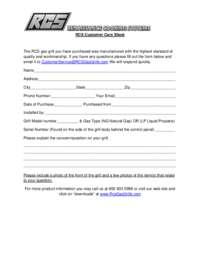 Customer Care Sheet