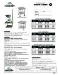 Mixer Tables Spec Sheet