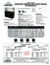 Hot Food Table with Enclosed Base Spec Sheet