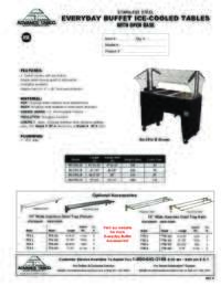 Ice Cooled Buffet Table with Open Base  Spec Sheet