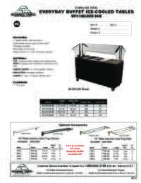 Ice Cooled Buffet Table with Solid Base Spec Sheet