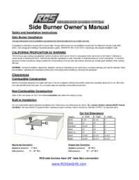 Side  Burner User Manual