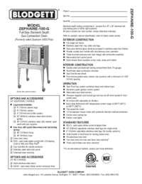 Blodgett Oven ZEPH 100 G SpecSheet