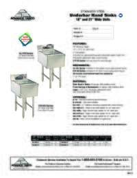 Underbar Hand Sinks Spec Sheet