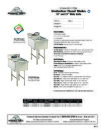 Underbar Hand Sinks Spec Sheet