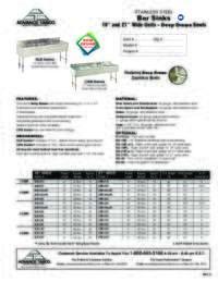 Bar Sinks Spec Sheet