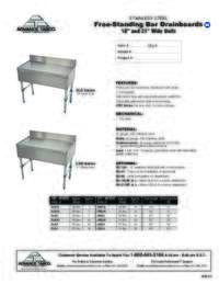 Drainboard Spec Sheet