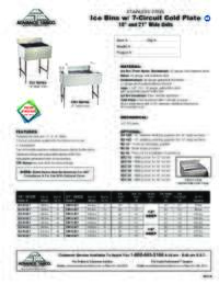 Ice Bins with 7 Circuit Cold Plate Spec Sheet