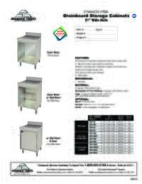 Drainboard Storage Cabinets Spec Sheet