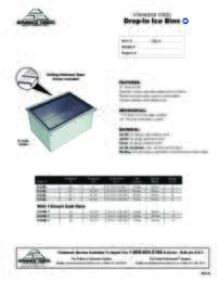 Drop In Ice Bins Spec Sheet