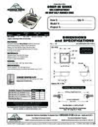 Drop In Sinks No Drip Self Rimmed Edge Spec Sheet