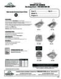 Drop In Sinks Spec Sheet