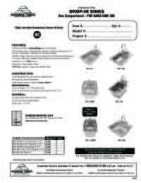 Drop In Sinks Spec Sheet