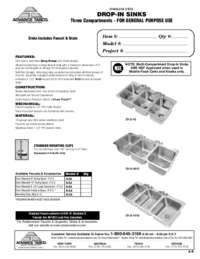 3 Compartment Drop In Sink Spec Sheet