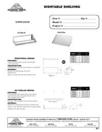 Dishtable Shelving Spec Sheet