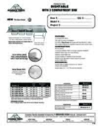 3 Compartment Dishtable Spec Sheet
