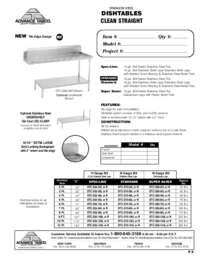 Clean Straight Dishtable Spec Sheet