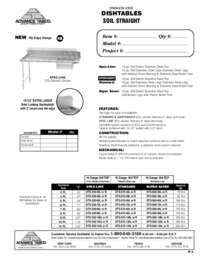 Straight Soil Dishtable Spec Sheet