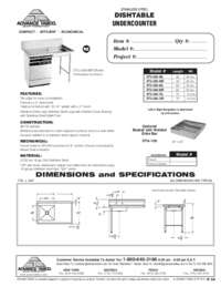 Undercounter Dishtable Spec Sheet