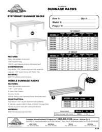 Dunnage Rack Spec Sheet