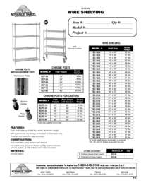 Chrome Wire Shelving Spec Sheet
