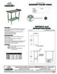 Filler Table Spec Sheet