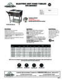 Electric Hot Food Tables Spec Sheet