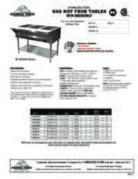 Gas Powered Hot Food Table Spec Sheet