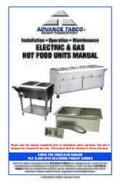 Installation and Operation Manual for Electric and Gas Hot Food Units