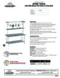 Work Table with Mid Mount Pot Rack and Overshelf Spec Sheets