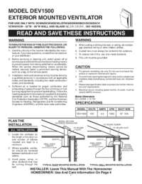 Exterior Mounted Ventilator DEV1500 Model Installation Guide