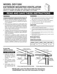 Exterior Mounted Ventilator DEV1200 Model Installation Guide